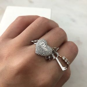 Dior Silver Heart Key Chain Ring